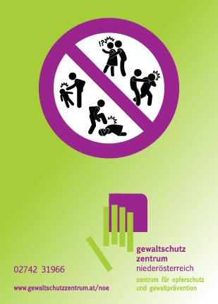 Flyer Gewaltschutzzentrum NÖ mit Piktogrammen gegen Gewalt, Rückseite